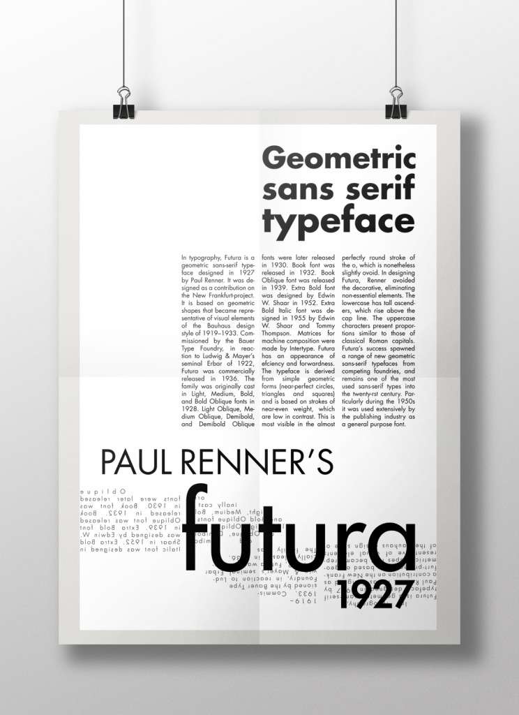 A poster on Futura showing two principles of layout design - Movement, Grids and Margins