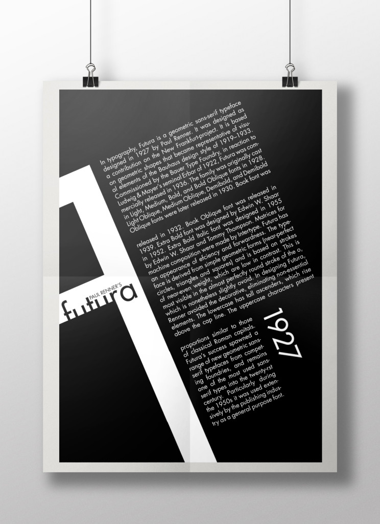 A poster on Futura showing two principles of layout design - Proportion and Visual Anchor