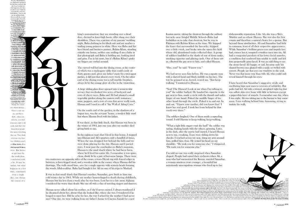 Magazine Spread on The Kite Runner by Khaled Hosseini