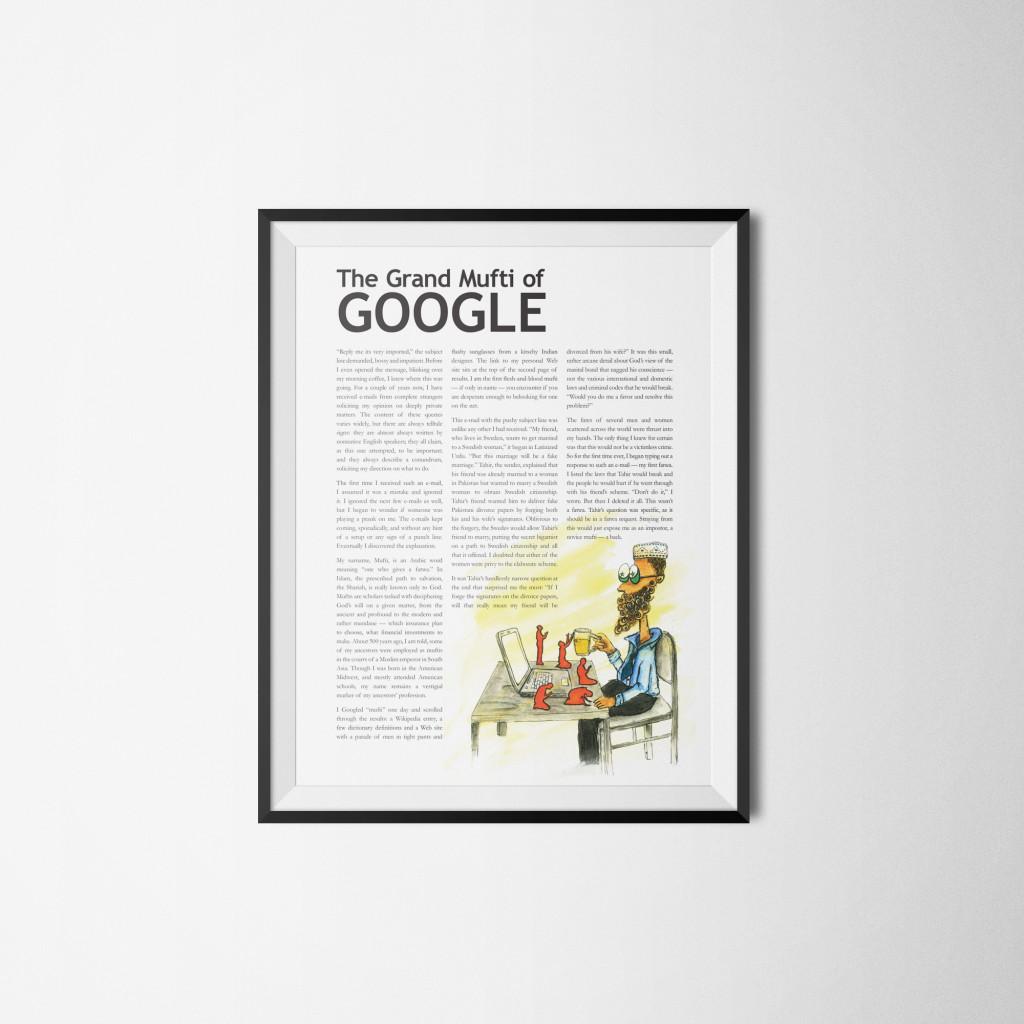 Editorial Article. The Grand Mufti of Google. Art Director and Layout Design - Aditya Bhardwaj Illustrator - Nandini Bhotika